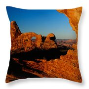 Turret Arch Through North Window Throw Pillow