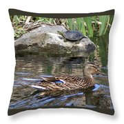 Turtle And Duck Throw Pillow