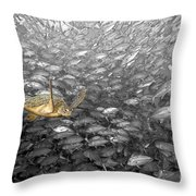 Turtle And Fish School Throw Pillow