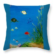 Turtle And Friends Throw Pillow
