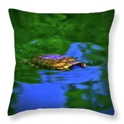 Turtle Coming Up For Air 003 Throw Pillow