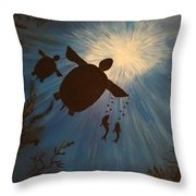 Turtle From Below Throw Pillow