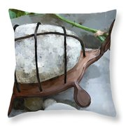 Turtle Full Of Rocks Throw Pillow