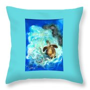 Turtle In Blue Throw Pillow