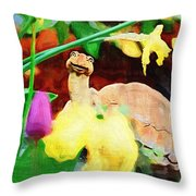 Turtle In The Tulips Throw Pillow