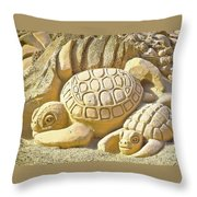 Turtle Sand Castle Sculpture On The Beach 999 Throw Pillow