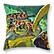 Turtle Swim Throw Pillow