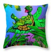 Turtle Trampoline Throw Pillow
