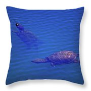 Turtles At The Lily Pond 001 Throw Pillow
