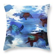 Turtles In Heaven Throw Pillow