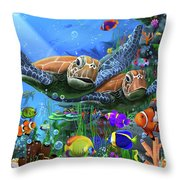 Turtles Of The Deep Throw Pillow