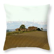 Tuscan Farm House With The City Of Siena On The Background Throw Pillow