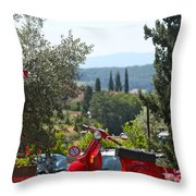 Tuscan Landscape And Scooter Throw Pillow