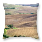 Tuscan Landscape With Plowed Fields Throw Pillow