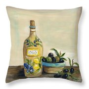 Tuscan Olive Oil  Throw Pillow
