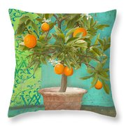 Tuscan Orange Topiary - Damask Pattern 2 Throw Pillow
