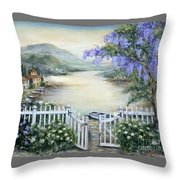Tuscan Pond And Wisteria Throw Pillow