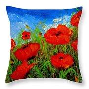 Tuscan Poppies Throw Pillow