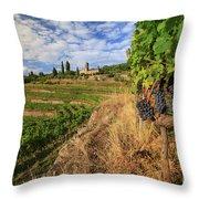 Tuscan Vineyard And Grapes Throw Pillow