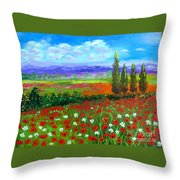 Tuscany Poppies Field Throw Pillow