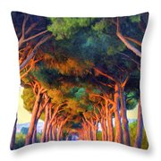 Tuscany Tree Tunnel Throw Pillow