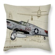 Tuskegee P-51b By Request - Profile Art Throw Pillow