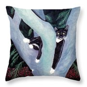 Tuxedo Cat In Mimosa Tree Throw Pillow by Karen Zuk Rosenblatt