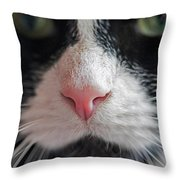 Tuxedo Cat Whiskers And Pink Nose Throw Pillow
