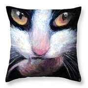 Tuxedo Cat With Mouse Throw Pillow