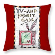 Tv And Rabbit Ears Throw Pillow