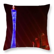 Tv Tower At Night Throw Pillow