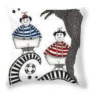 Tweedle-dee Tweedle-dum Throw Pillow