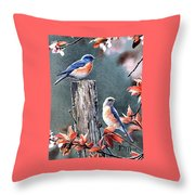 Tweeting Throw Pillow by Janet Moss