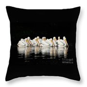 Twelve White Pelicans On A Dark Background. Throw Pillow