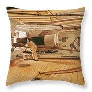 Twenty-seven Pound Cannon On A Battleship Throw Pillow