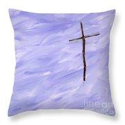 Twig Cross On Purple Throw Pillow