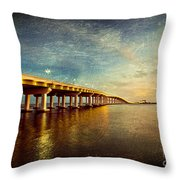 Twilight Biloxi Bridge Throw Pillow