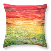 Twilight Bounds Softly Forth On The Wildflowers Throw Pillow