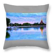 Twilight City Lake View Throw Pillow