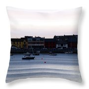 Twilight In The Harbor At Skerries Throw Pillow