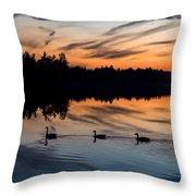 Twilight Lake Swim New Jersey Throw Pillow