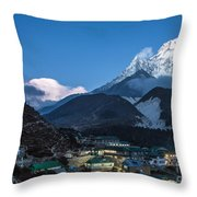 Twilight Over Pangboche In Nepal Throw Pillow