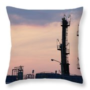 Twilight Over Petrochemical Plant Throw Pillow