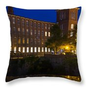 Twilight Over The Cocheco Mills Dover New Hampshire Throw Pillow
