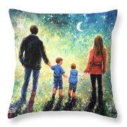 Twilight Walk Family Two Sons Throw Pillow
