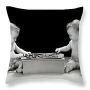 Twin Babies Playing Checkers, C.1930-40s Throw Pillow