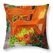 Twin Benches Throw Pillow