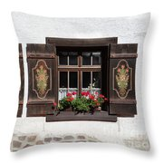 Twin Decorated Windows Throw Pillow