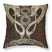 Twin Dragons Throw Pillow