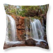 Twin Falls At Ironstone Gully Throw Pillow